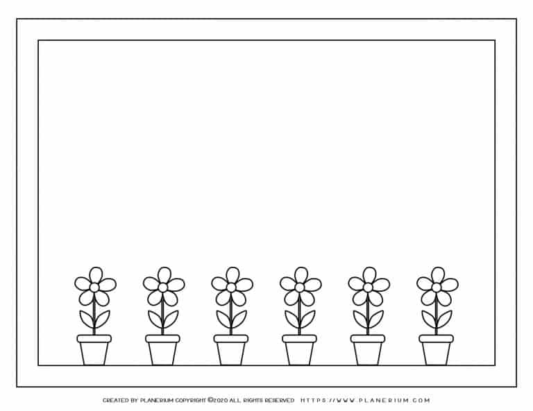 Spring coloring page with houseplants on a window