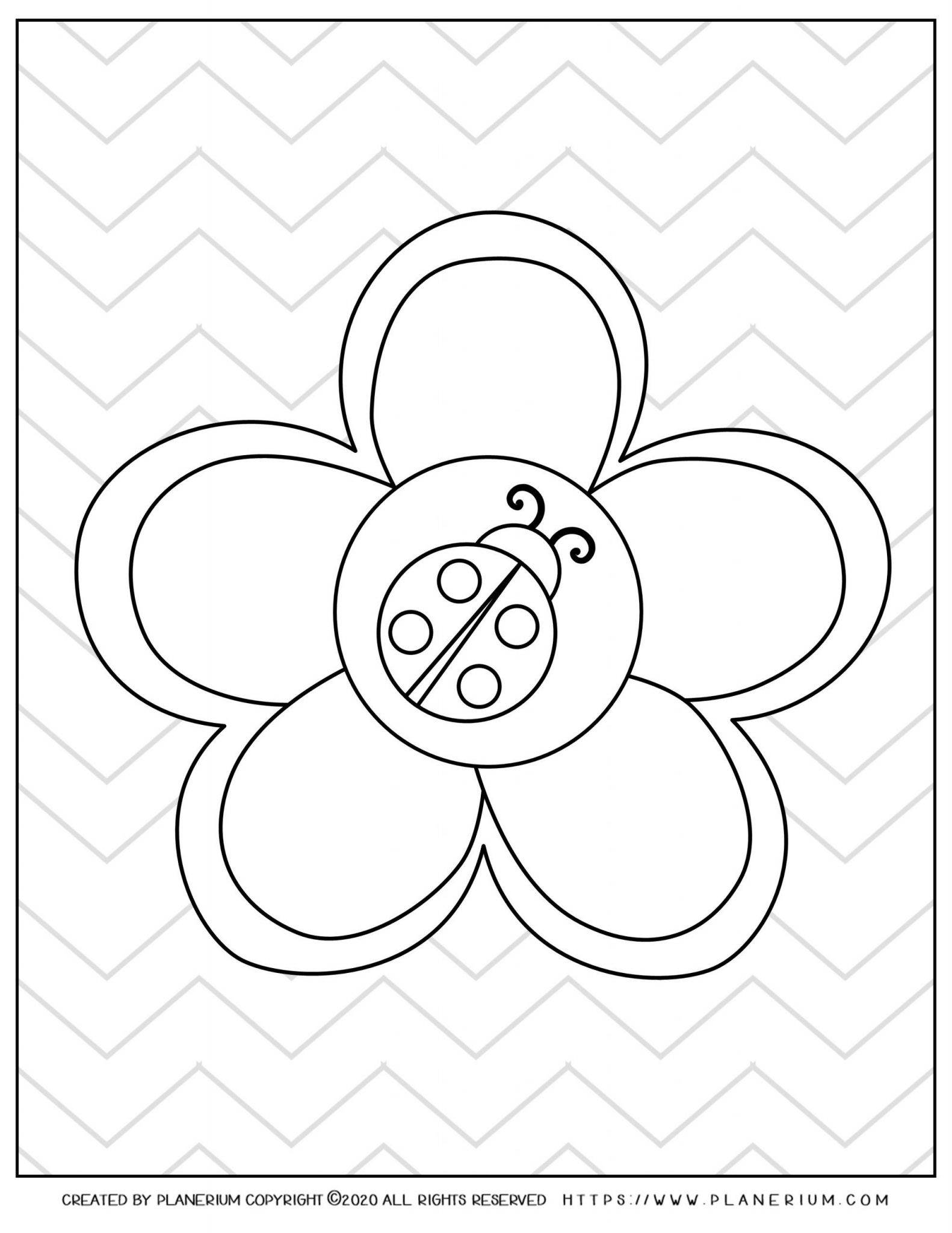 Spring coloring page - Ladybug on a flower and zigzag background