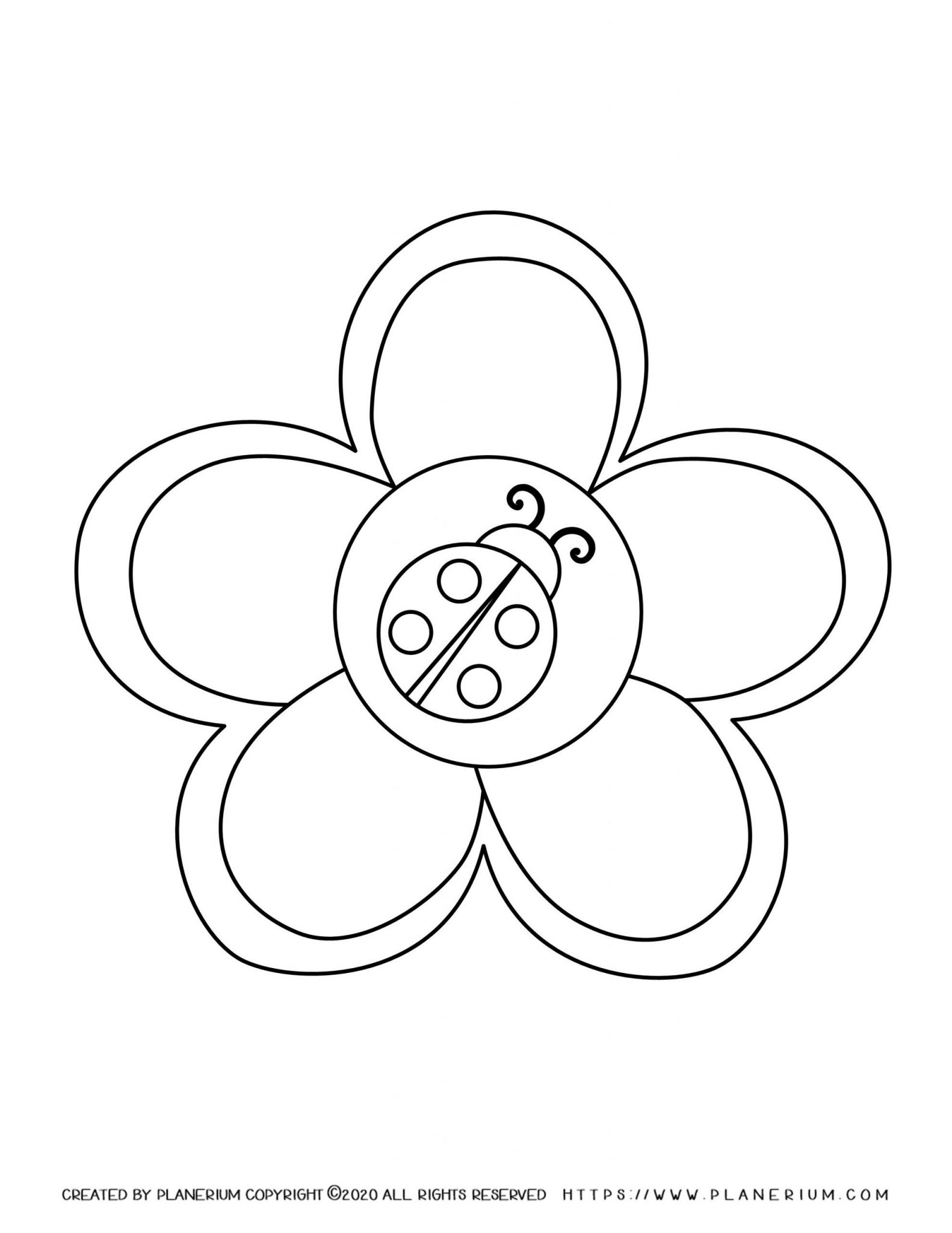 Spring coloring page - Flower with a Ladybug