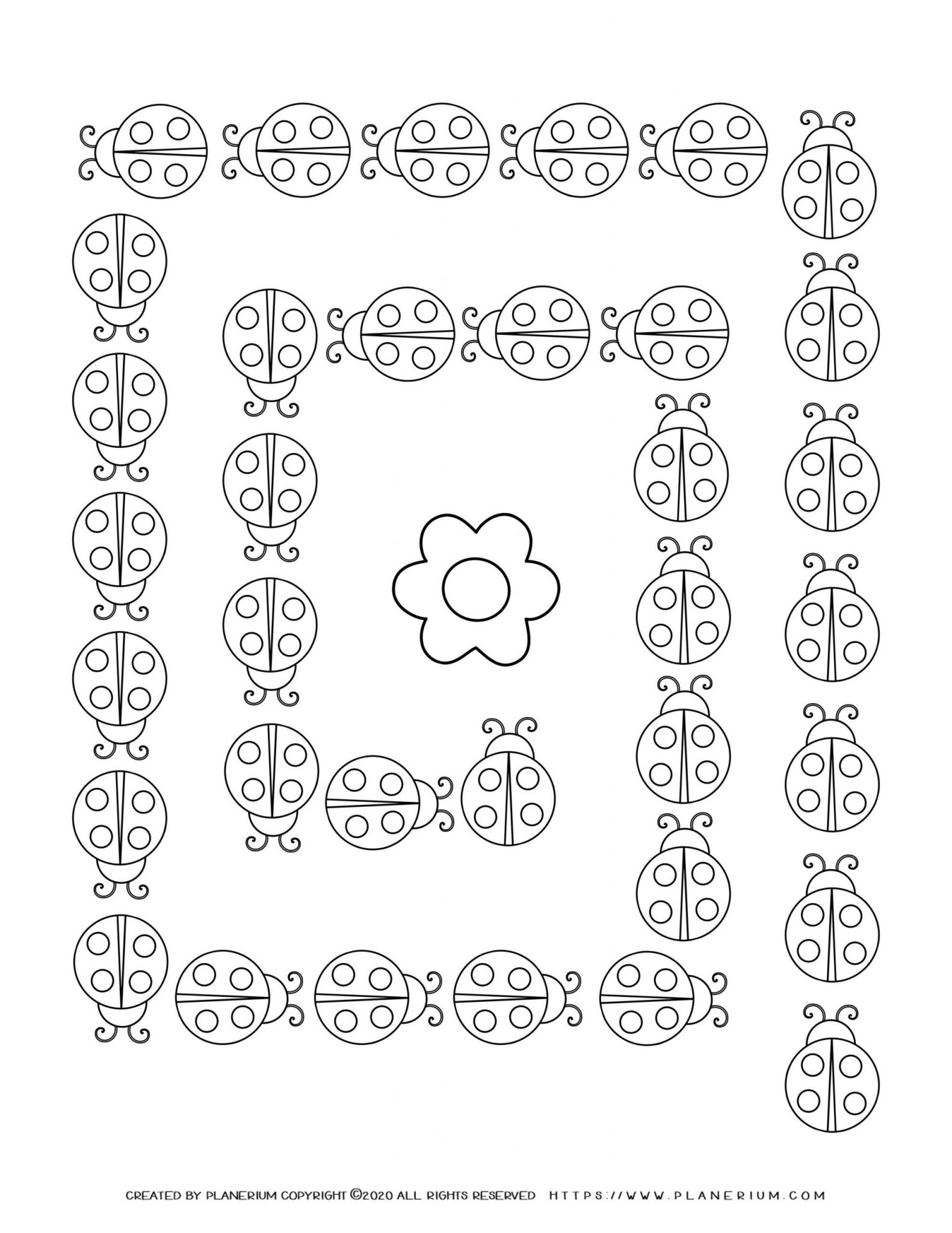 Spring coloring page with ladybugs maze
