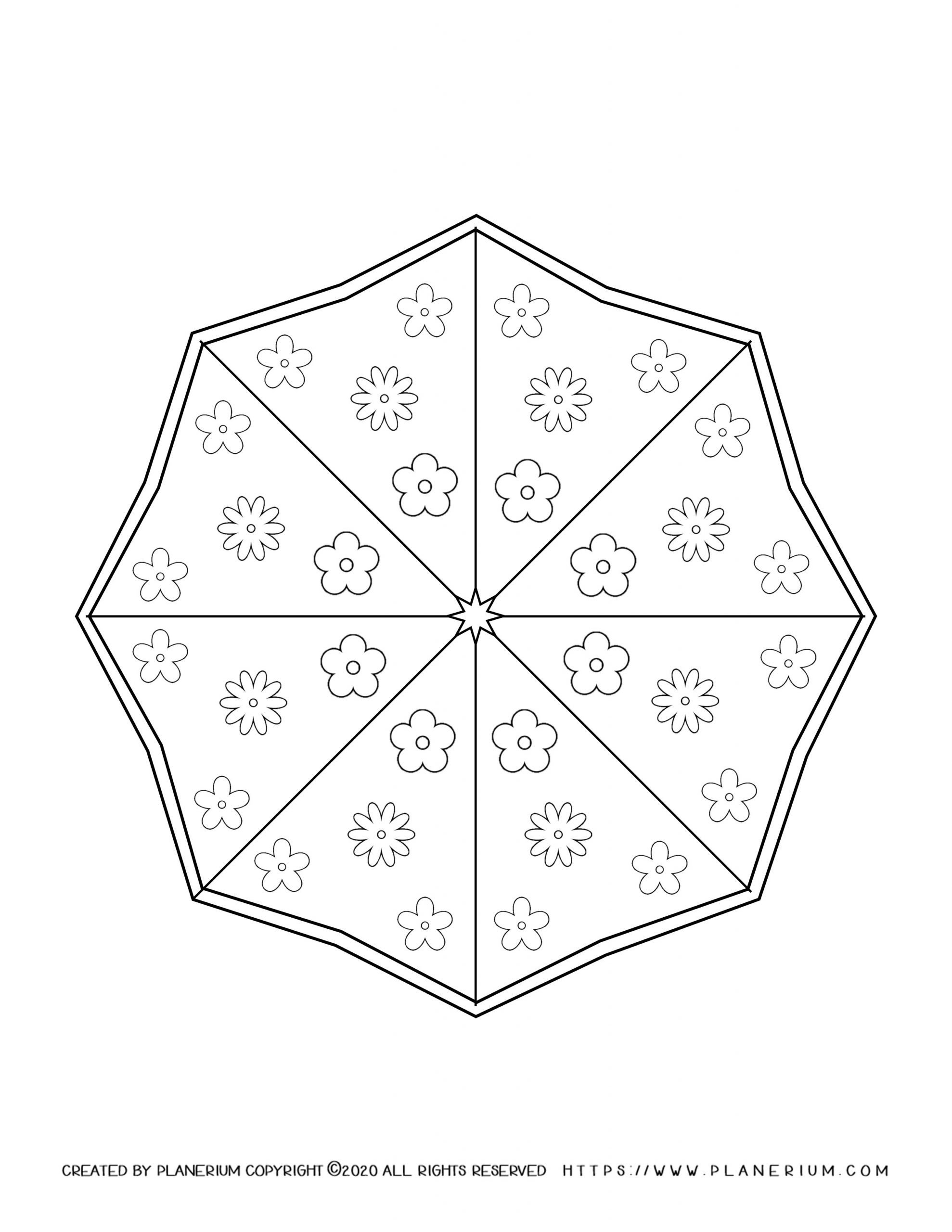 Spring coloring page of Octagon umbrella with flowers