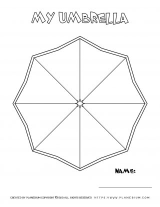 Spring coloring page - Octagon shaped umbrella with title and name