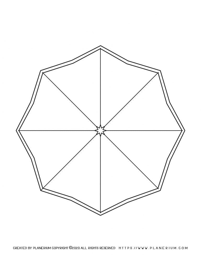 Spring coloring page - Octagon shaped umbrella