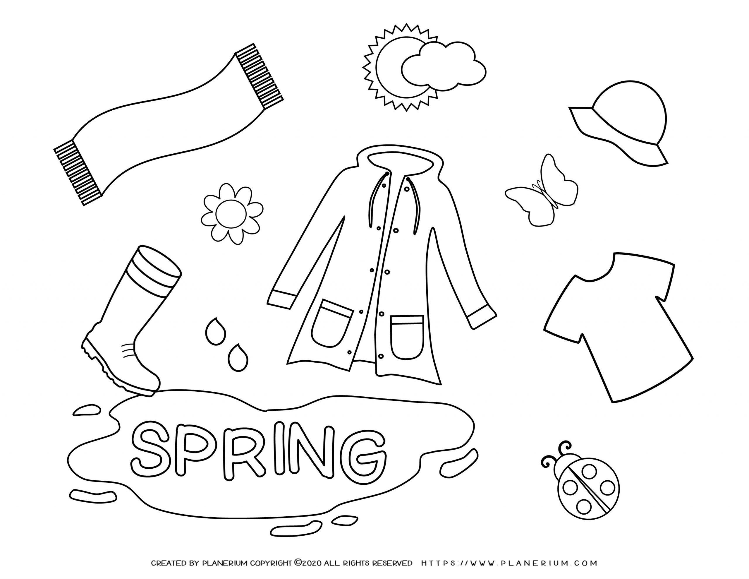 Spring coloring page - Season cloths