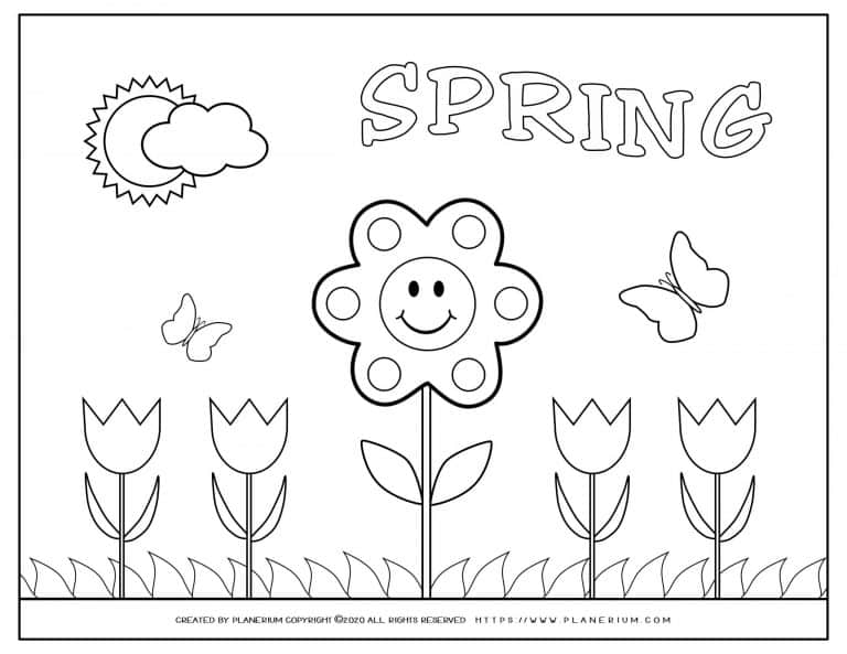 Spring coloring page with a smiling flower