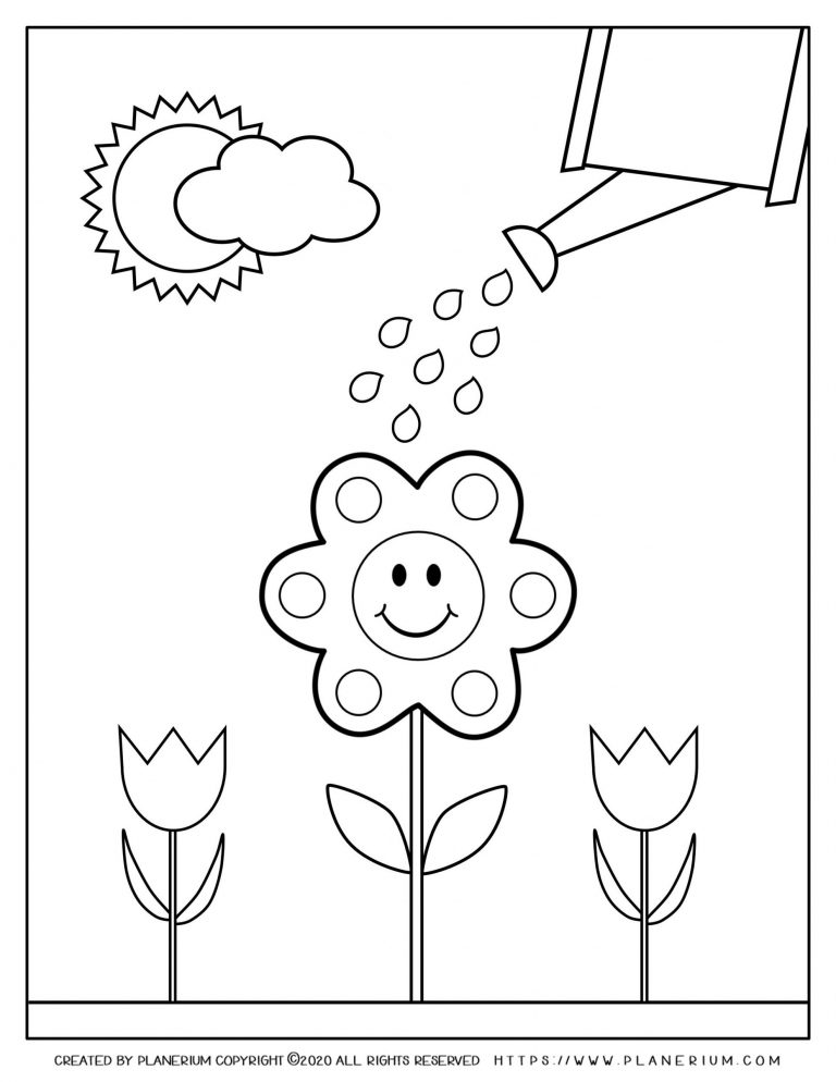 Spring coloring page - Watering a smiling flower