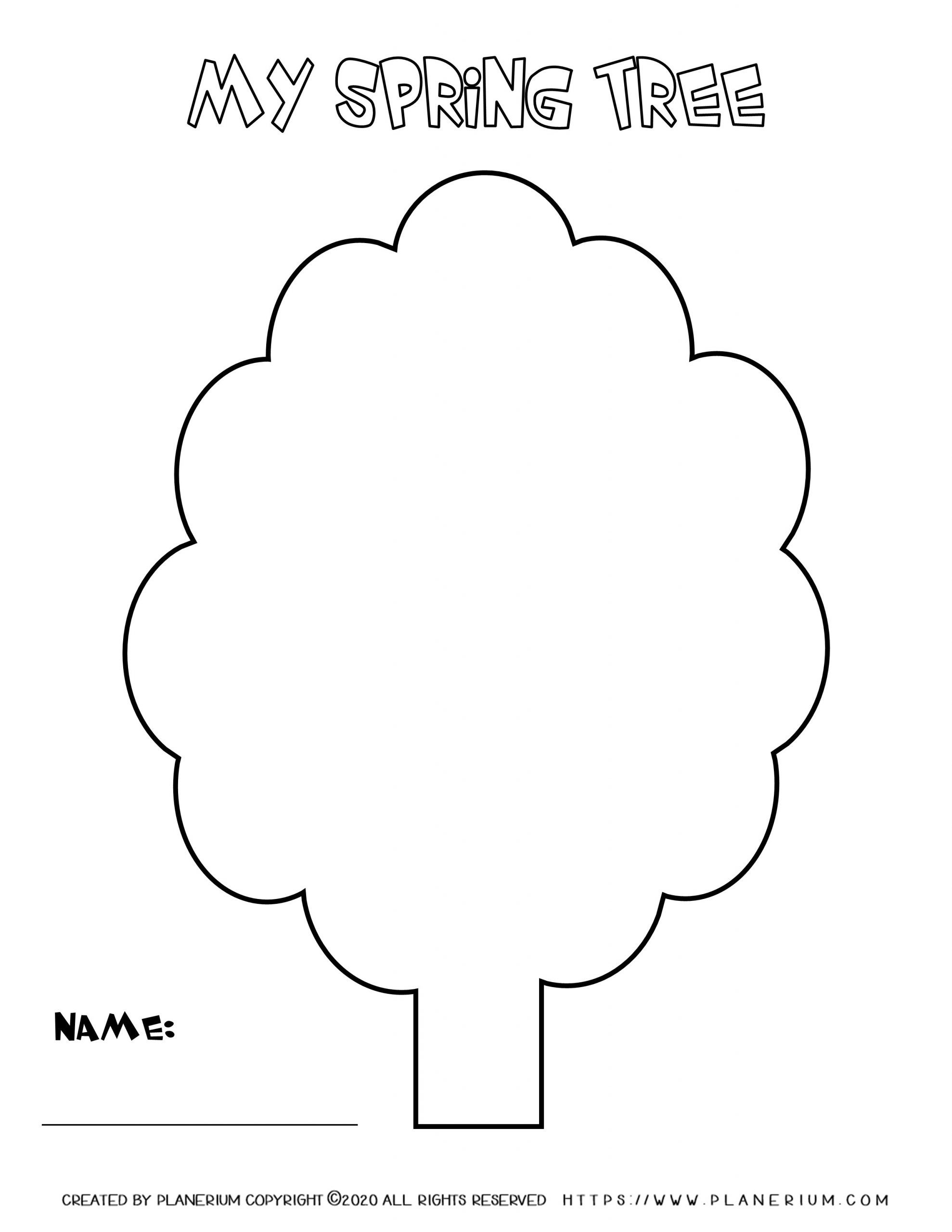 Spring coloring page Tree template with title and name