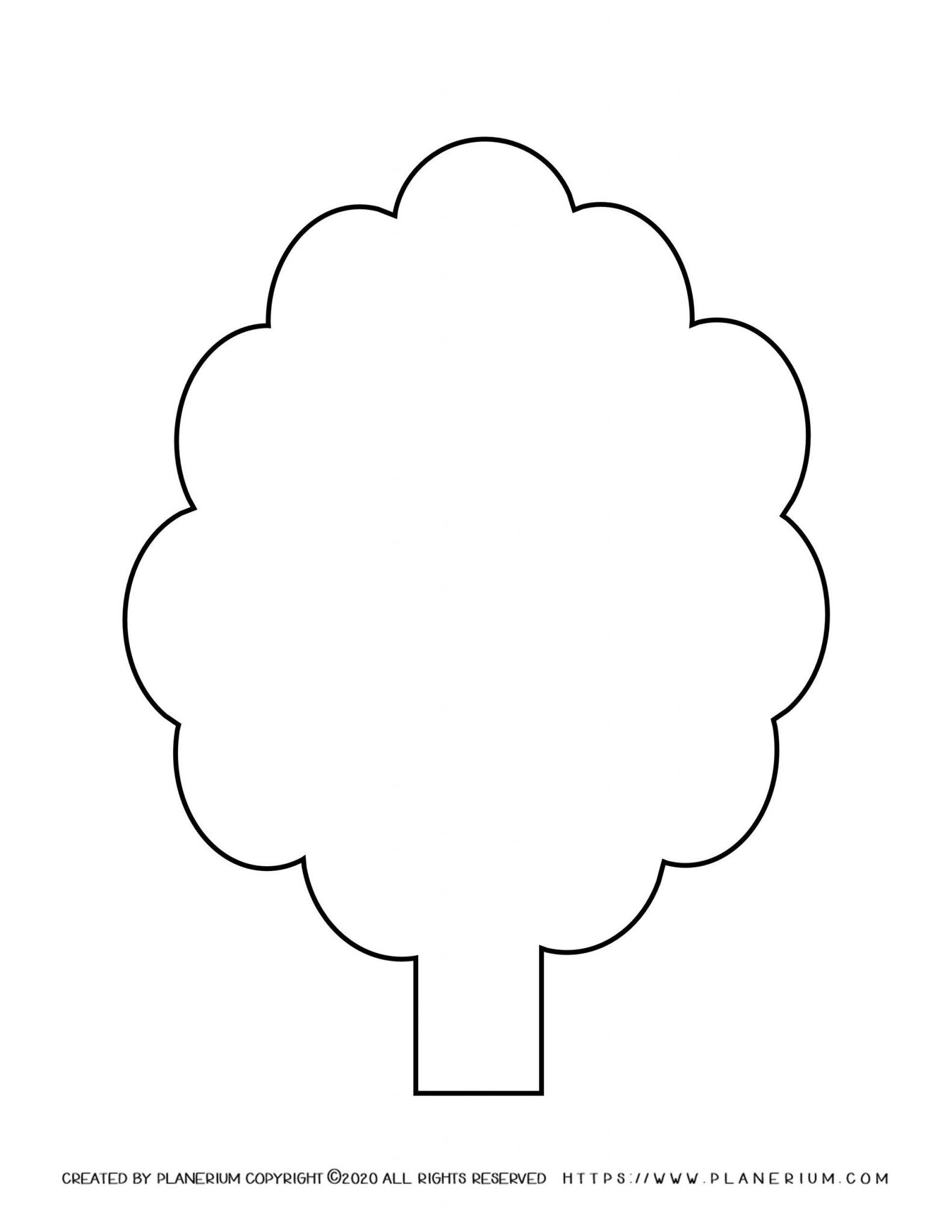 Spring coloring page with a tree template