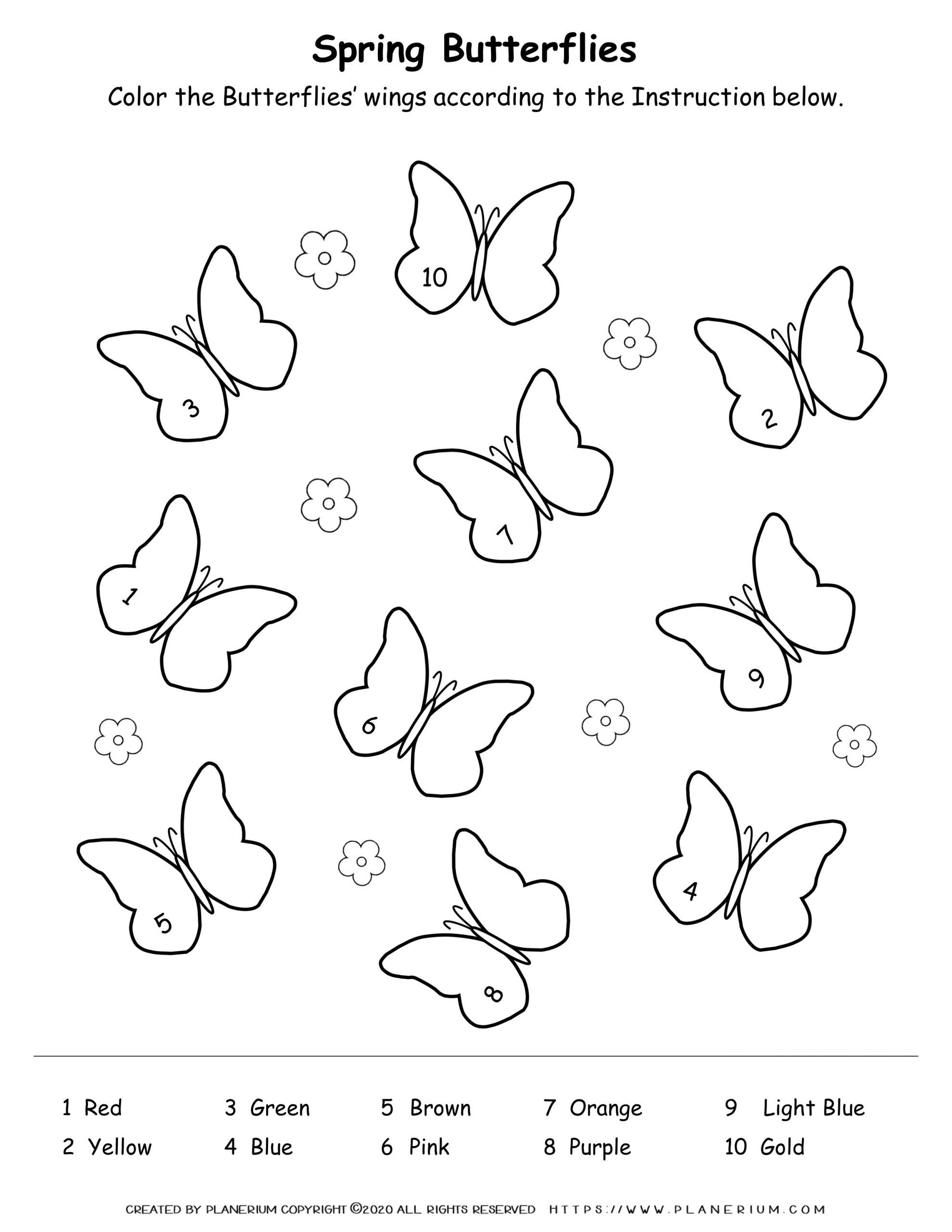 Spring coloring worksheet with butterflies