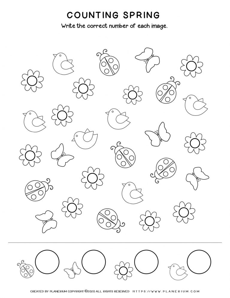 Spring coloring worksheet - Counting and sorting spring items