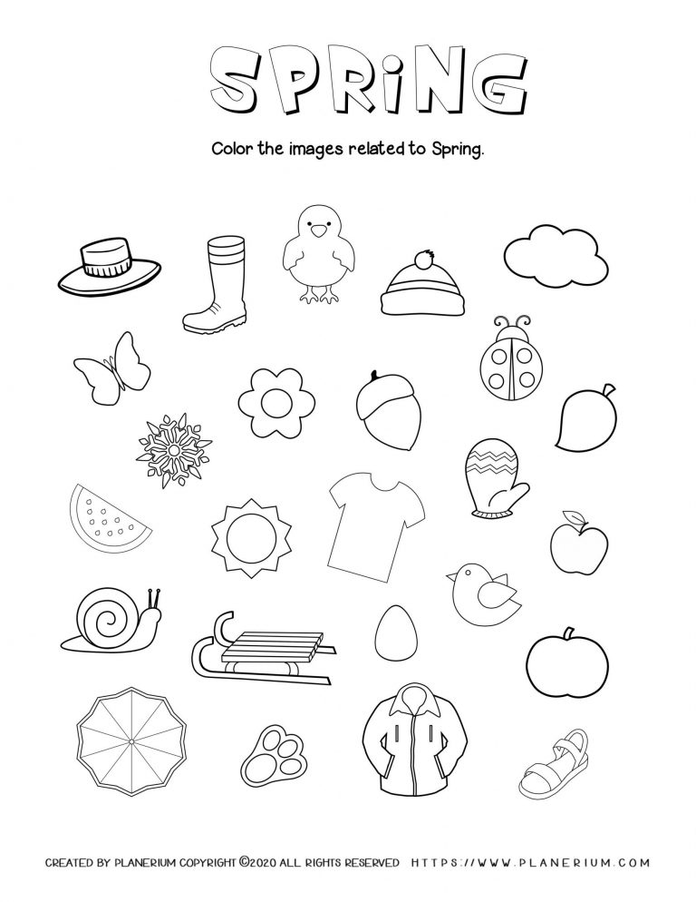Spring coloring worksheet color season related items