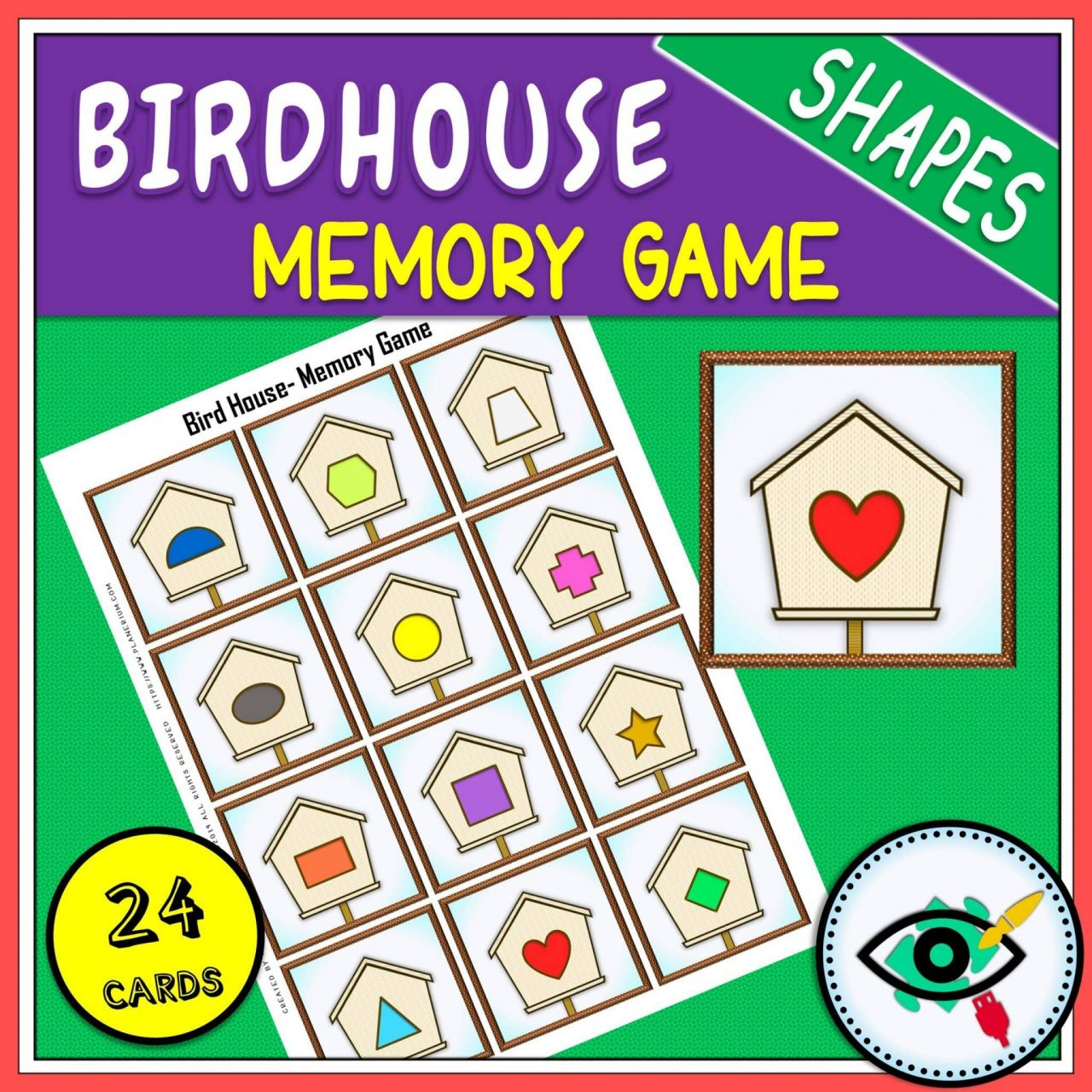 Spring - Memory Game - Birdhouse Shapes game Title 1