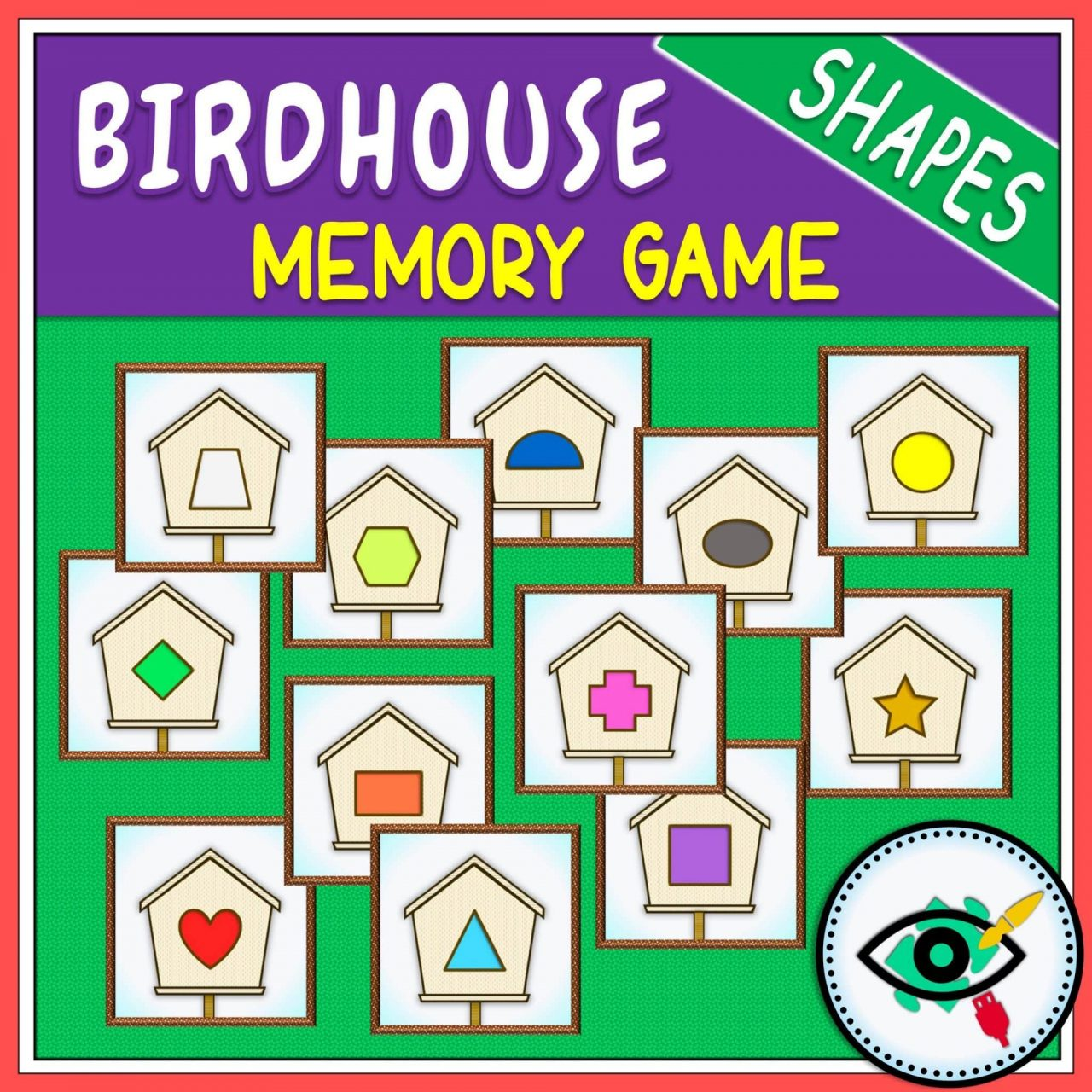 Spring - Memory Game - Birdhouse Shapes game Title 2