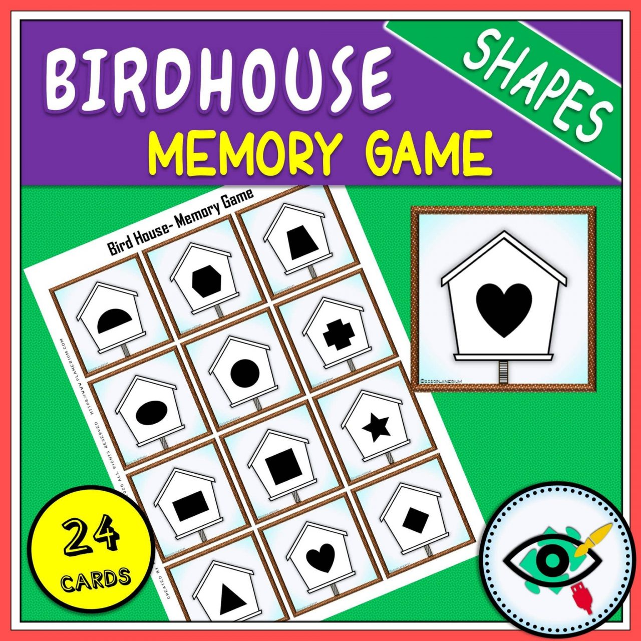 Spring - Memory Game - Birdhouse Shapes game Title 3