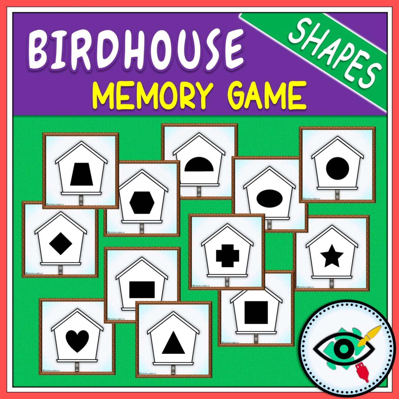 Spring - Memory Game - Birdhouse Shapes game