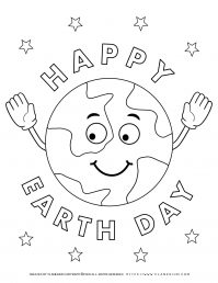 Earth day - Coloring page - Happy Earth Day