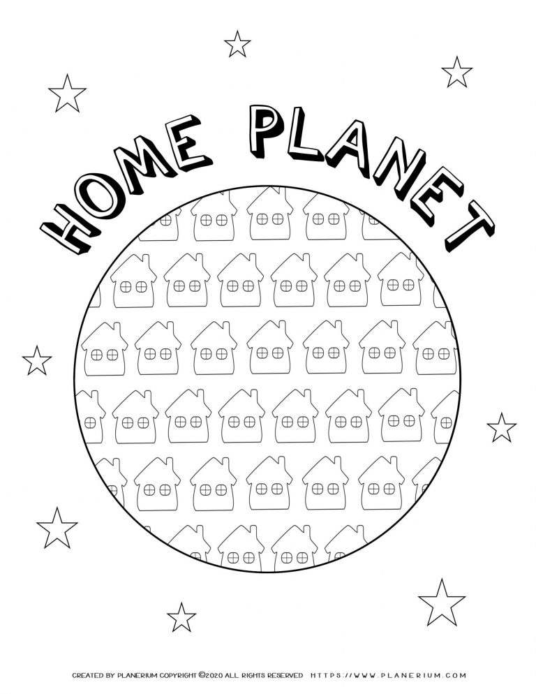Earth day - Coloring page - Home planet