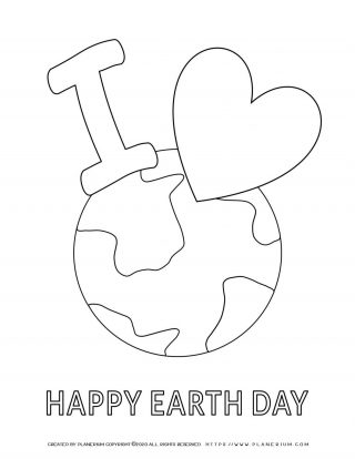 Earth day - Coloring page - I Love Earth