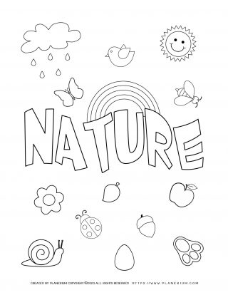 Earth day - Coloring page - Nature poster
