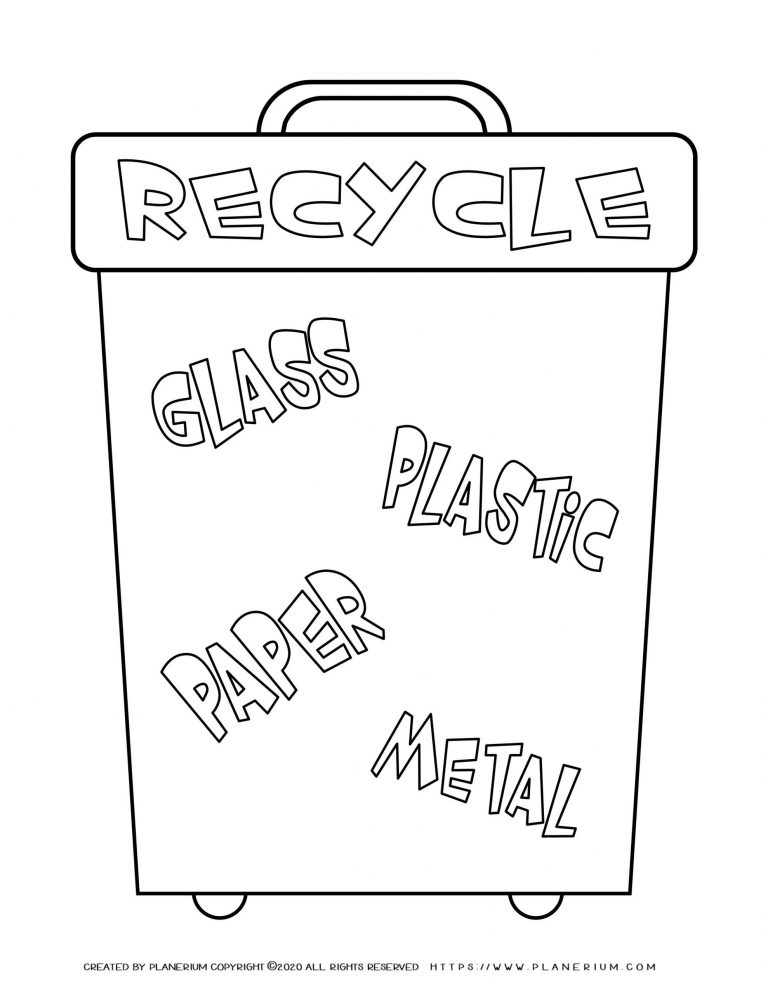 Earth day - Coloring page - Recycle bin Words