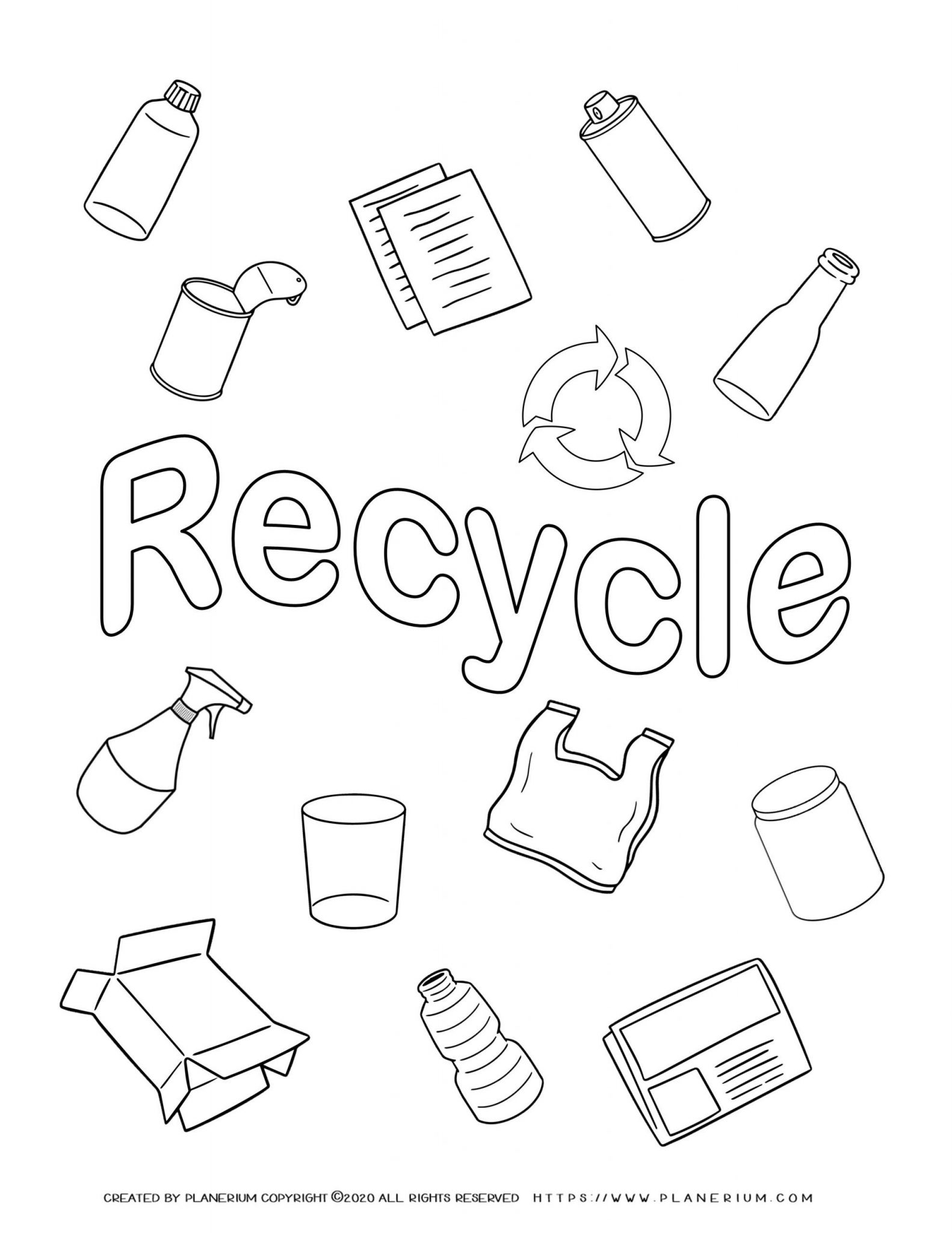 Earth day - Coloring page - Recycled items
