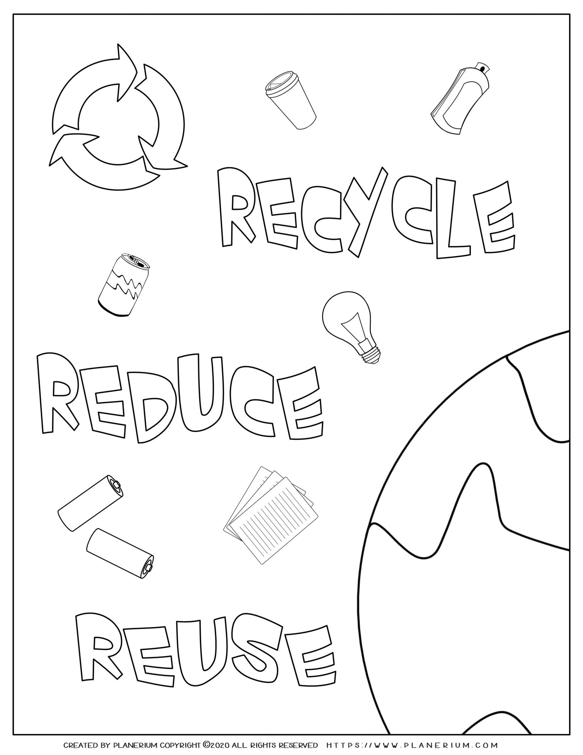 Earth day - Coloring page - Recycle Reduce and Reuse