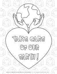 Earth Day - Coloring page - Take care of our earth