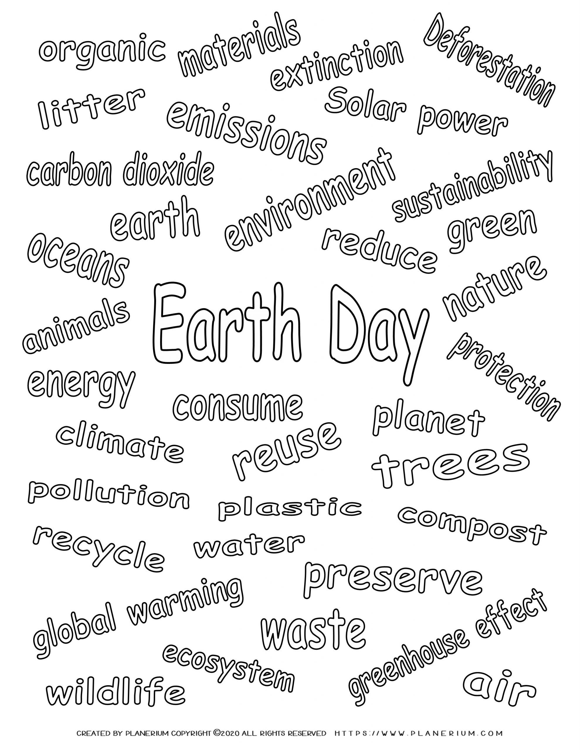 Earth day - Coloring page - Related Words