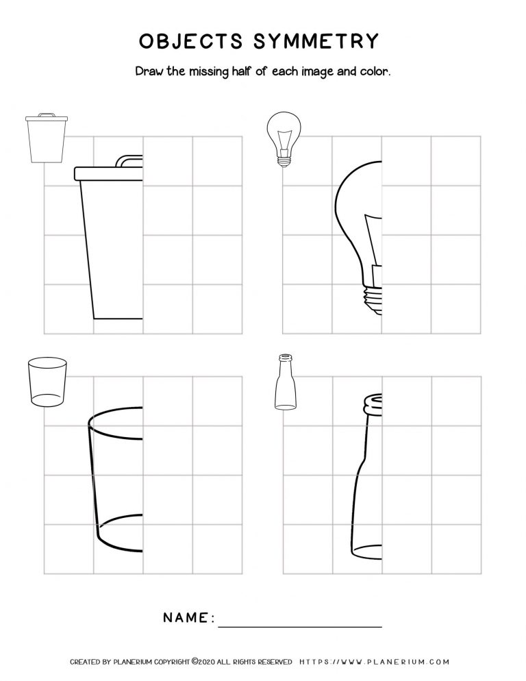 Earth Day - Worksheet - Symmetry drawing