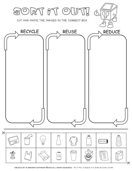 Earth Day - Worksheet - Sorting recycled items