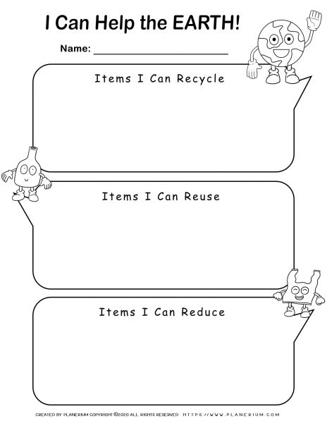 Earth day - Worksheet - Writing Recycling