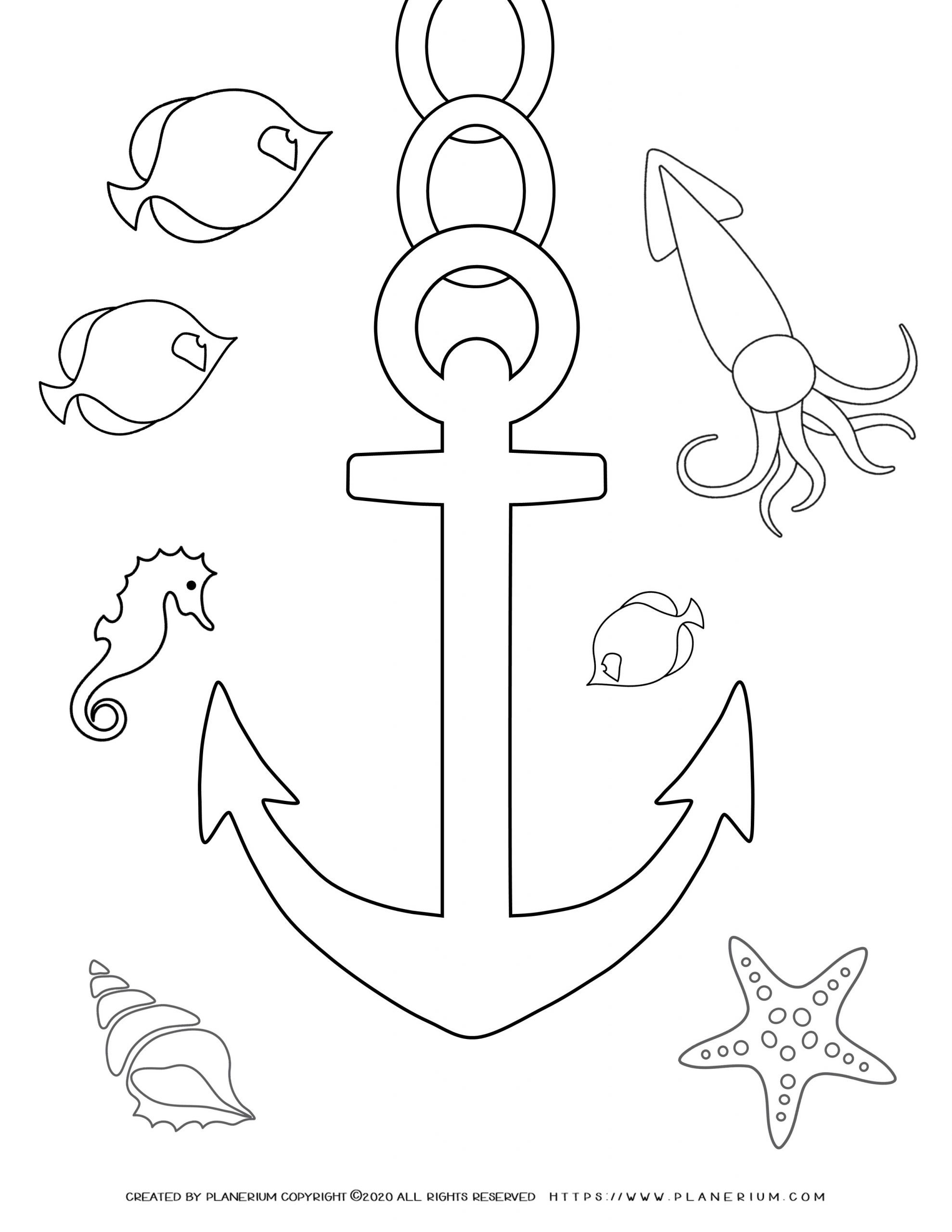 Summer - Coloring Page - Anchor