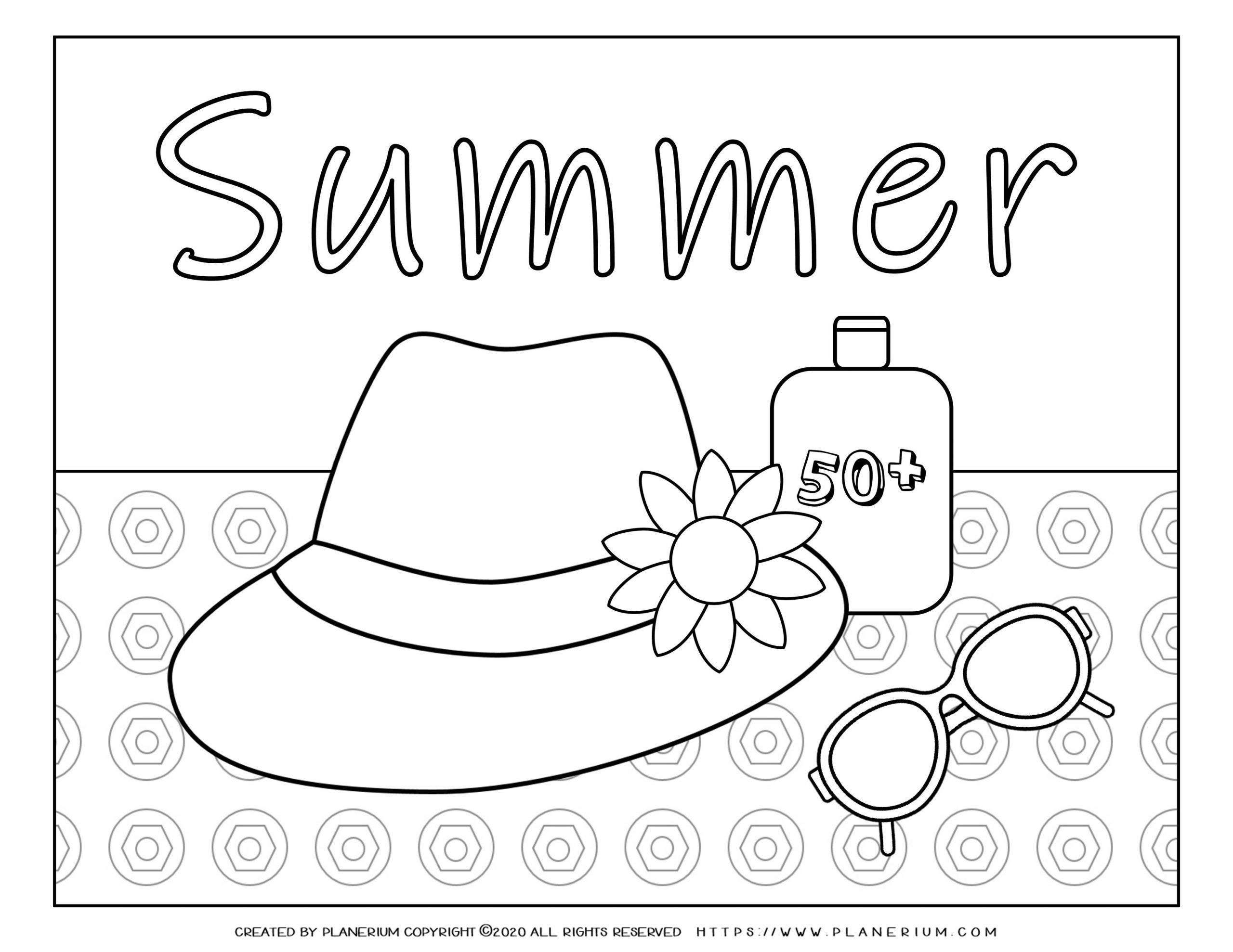 Summer - Coloring Page - Hat Sunglasses Sunscreen