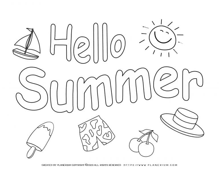 Summer - Coloring Page - Hello Summer