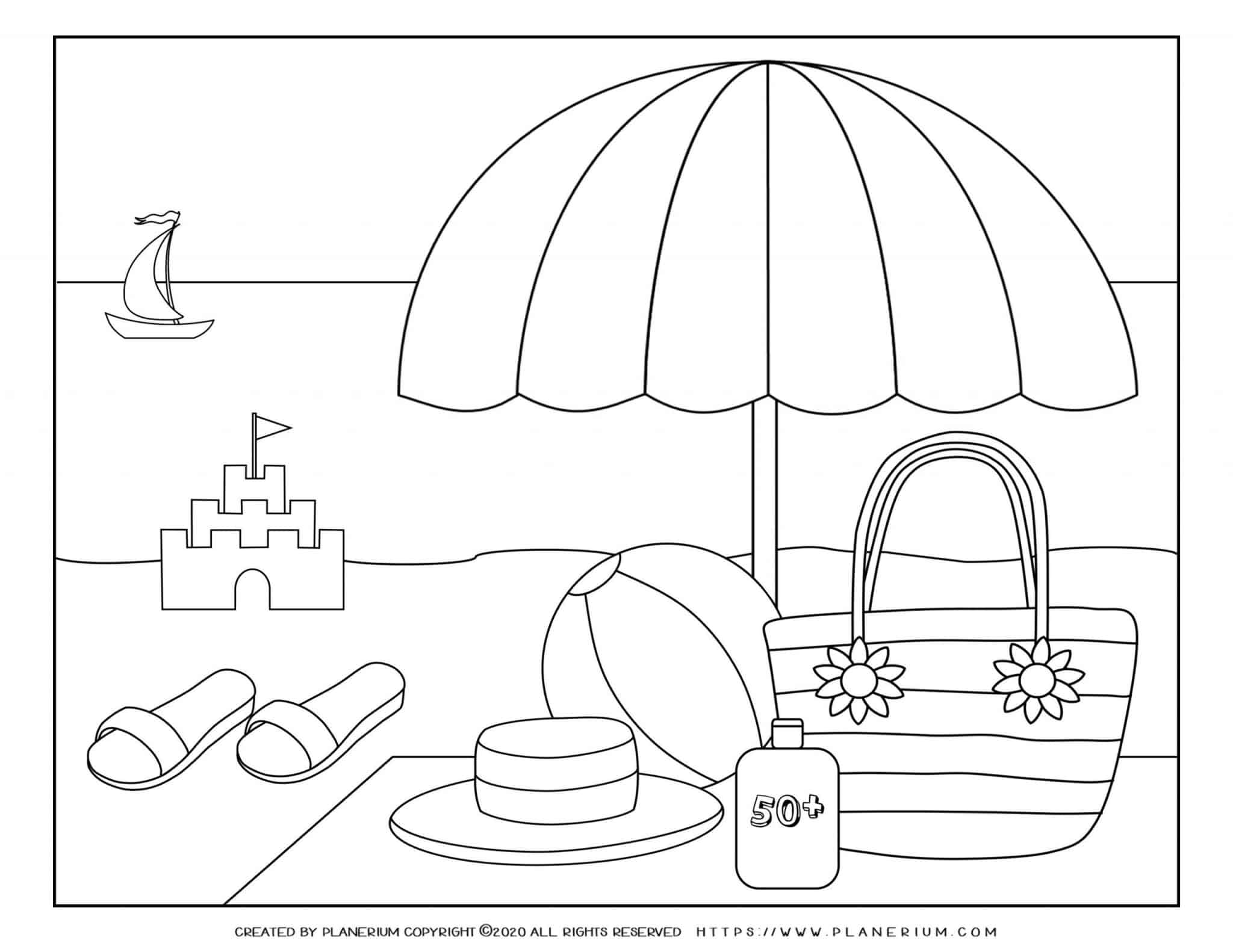 Summer - Coloring Page - Parasol on the beach