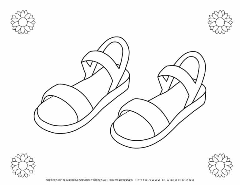 Summer - Coloring Page - Sandals