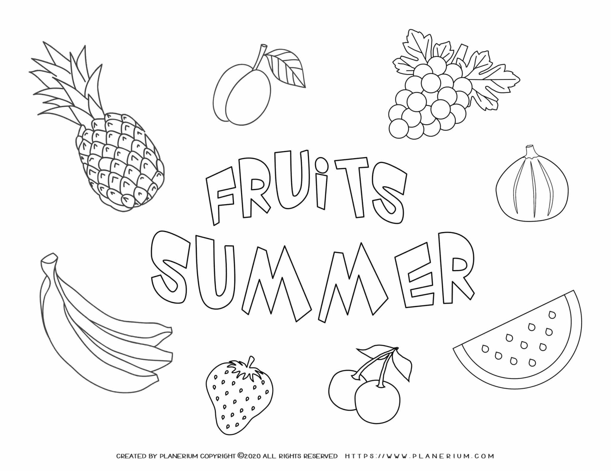 Summer - Coloring Page - Summer Fruits
