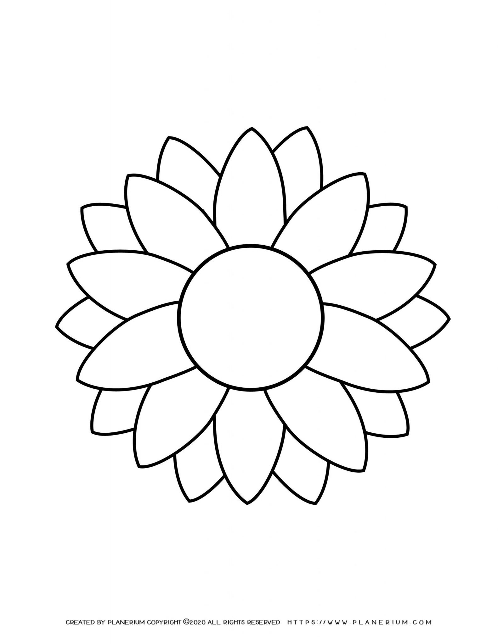 Summer - Coloring Page - Sunflower