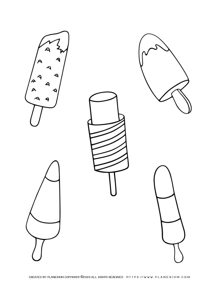 Summer - Coloring Page - Popsicles