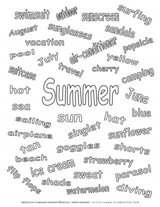 Summer - Coloring Page - Summer related words