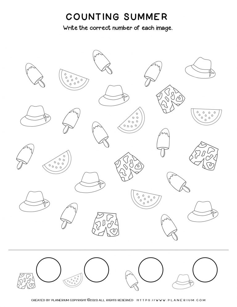 Summer - Worksheet - Counting items