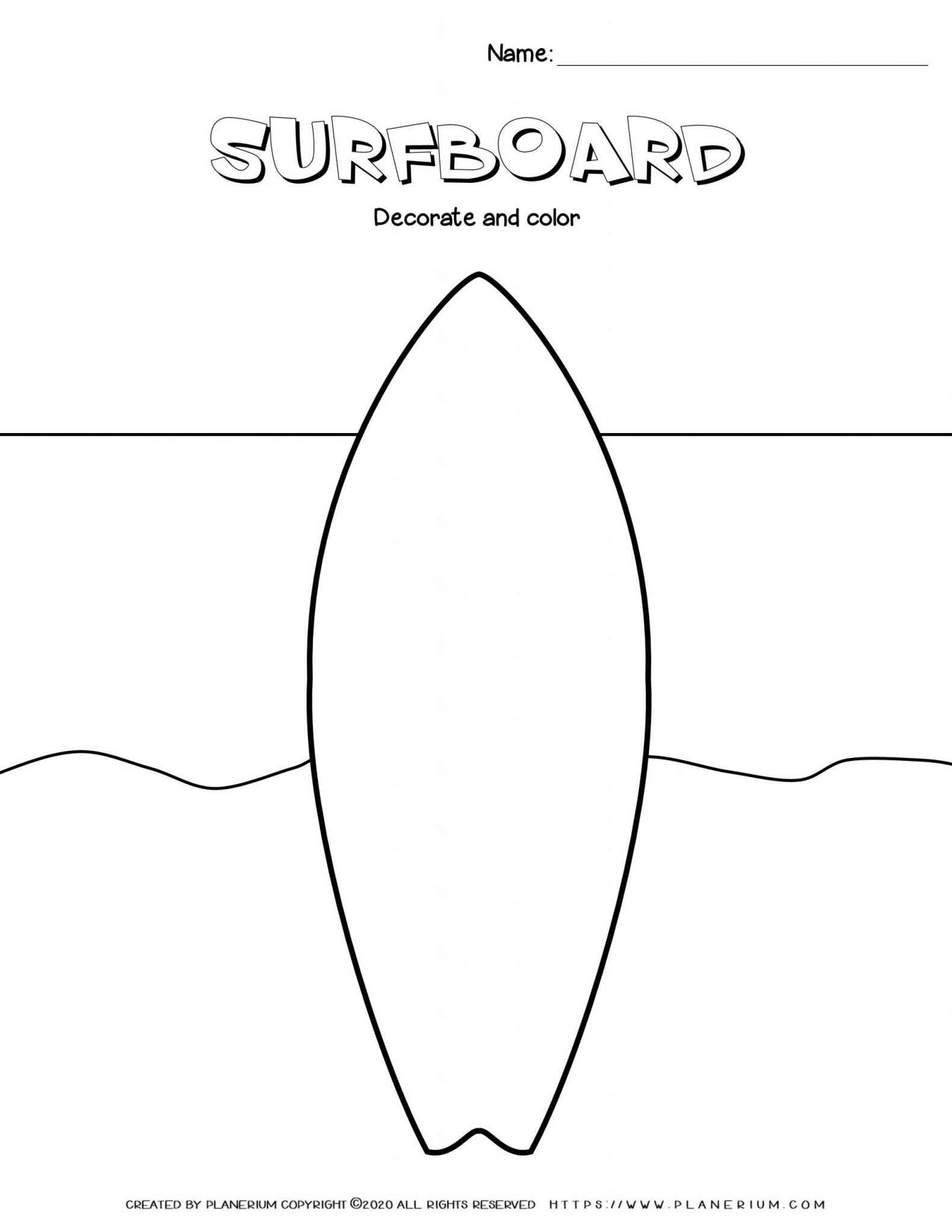 Summer - Worksheet - Decorate your Surfboard