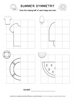 Summer - Worksheet - Symmetry Drawing