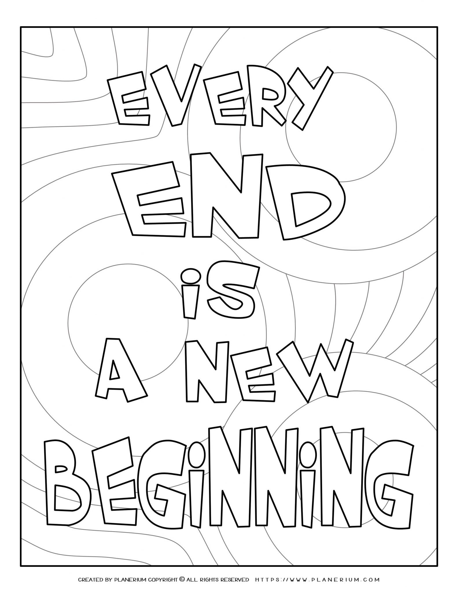 End of Year - Coloring Page - Every End is a New Begining