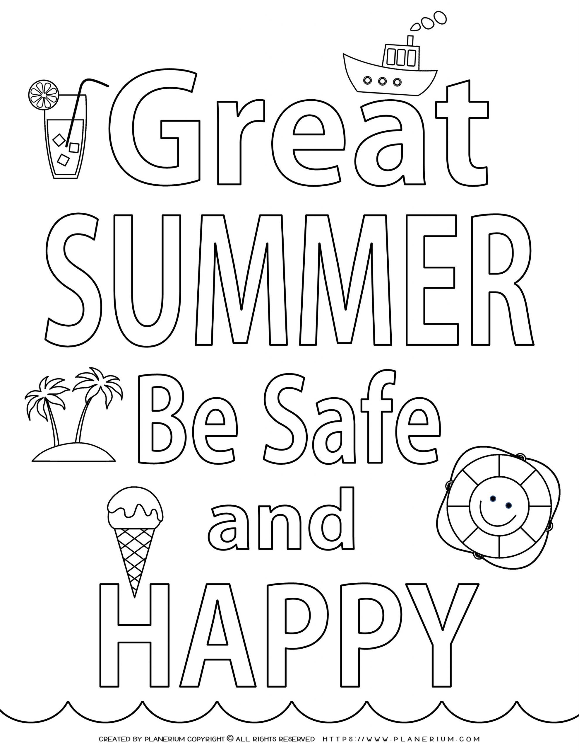 End of Year - Coloring Page - Be Safe In Summer