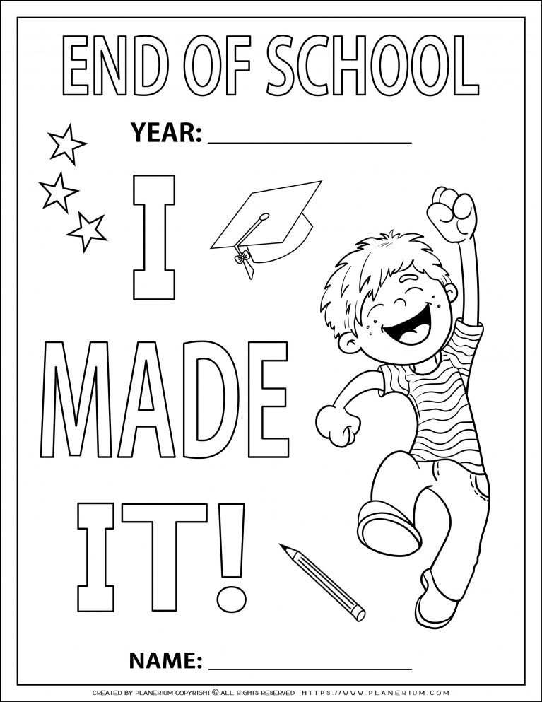 End of Year - Coloring Page - I Made It - Boy