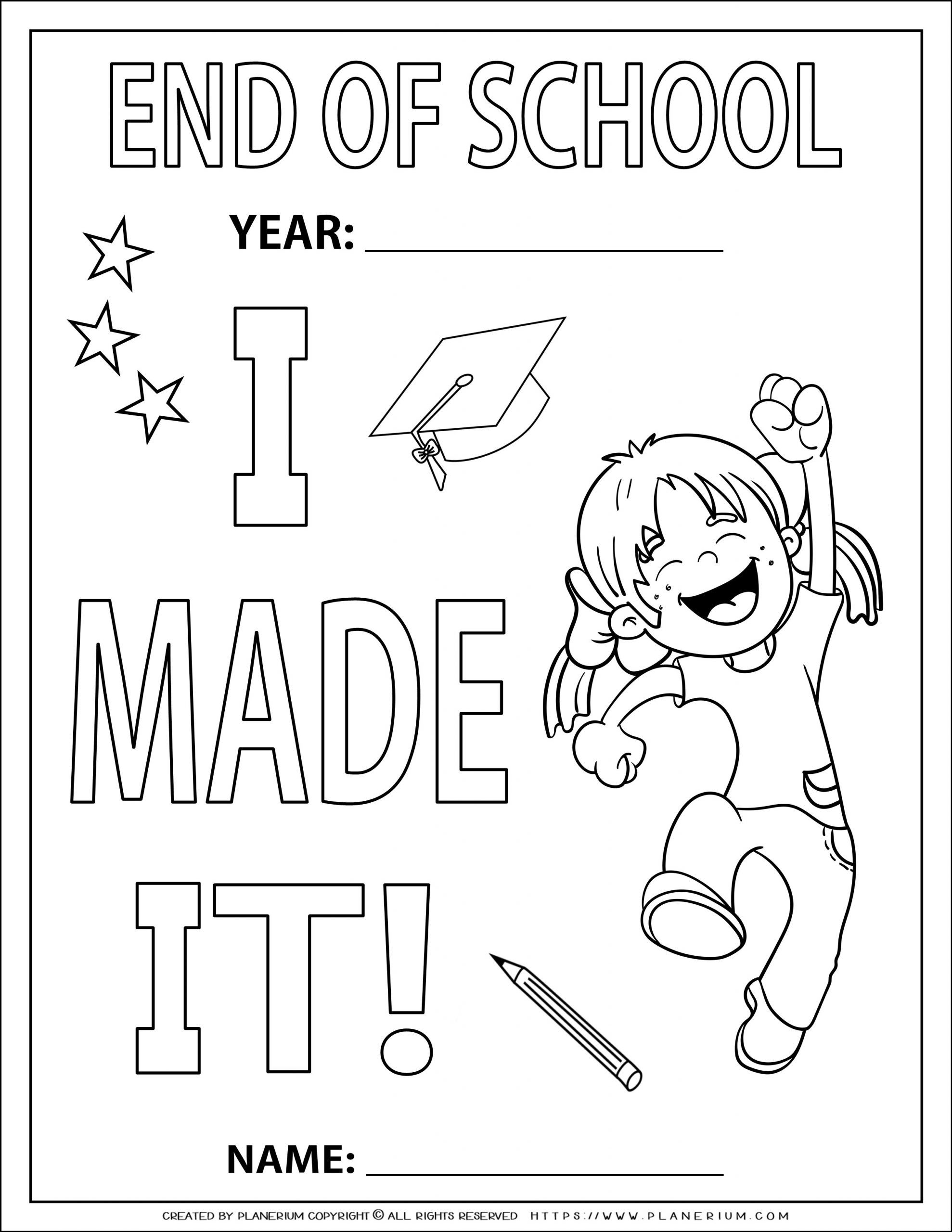 End of Year - Coloring Page - I Made It - Girl