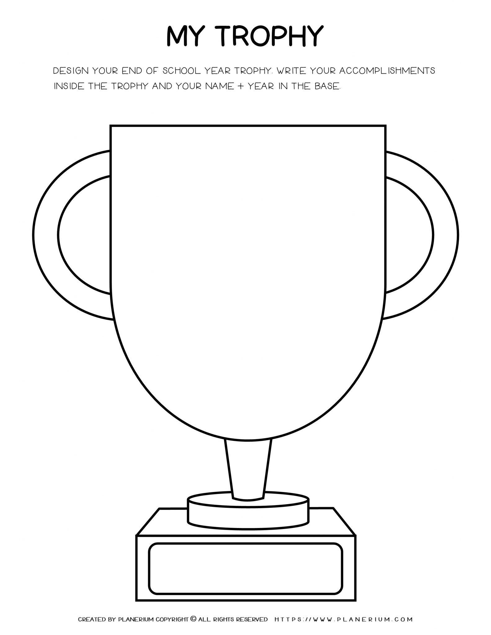 End of Year - Worksheet - Design My Trophy