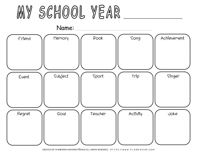 End of Year - Worksheet - Reflection Grid