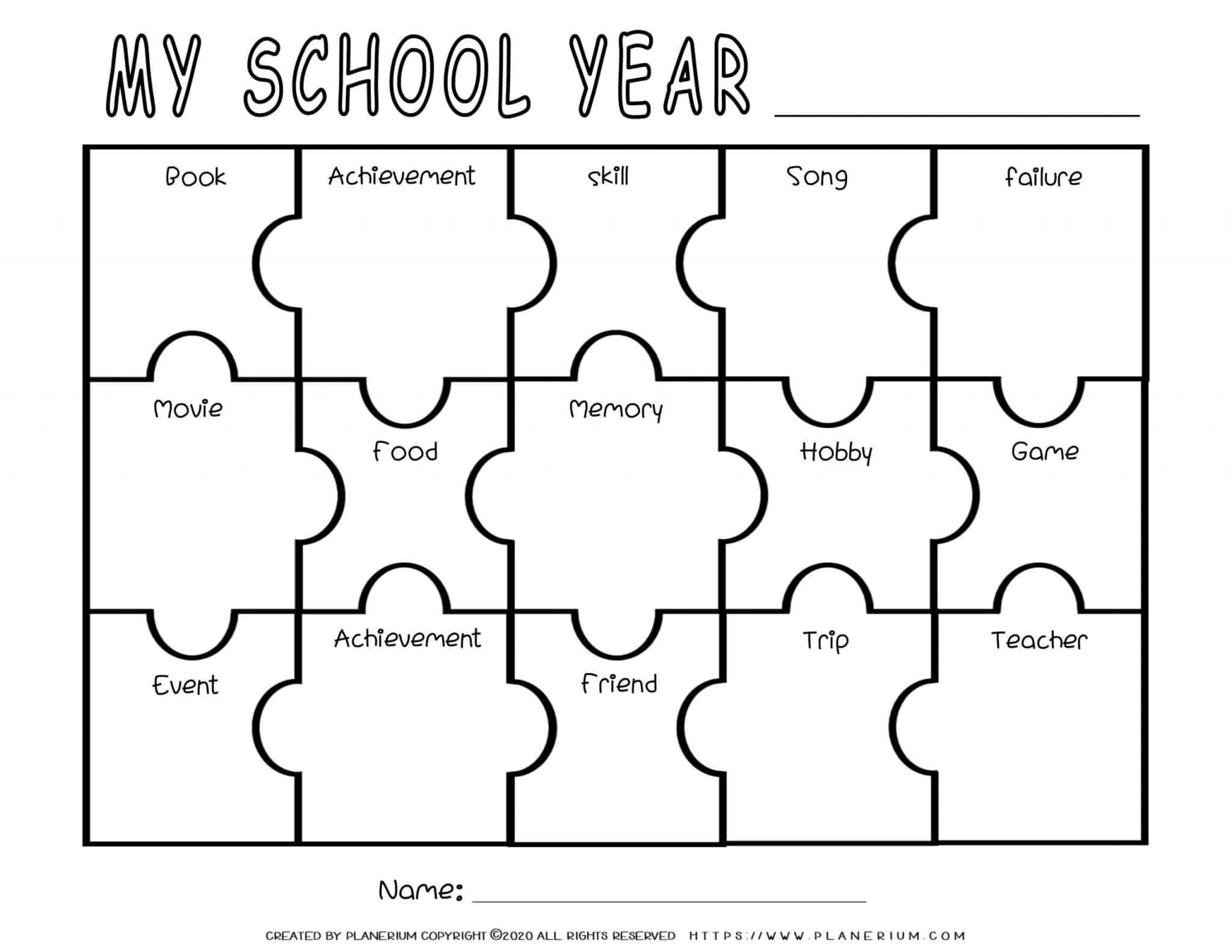 End of Year - Worksheet - Reflection Puzzle